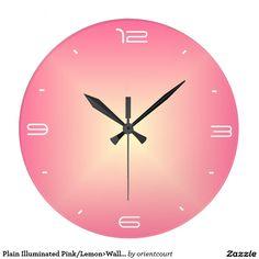Plain Illuminated Pink/Lemon>Wall Clock