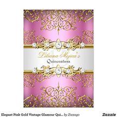 Elegant Pink Gold Vintage Glamour Quinceanera