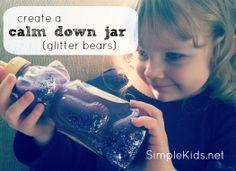 calm down jars (glitter bears)