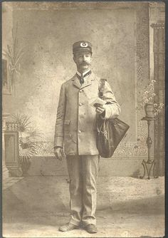 Description: An unidentified letter carrier posed in uniform for a studio photograph.Creator/Photographer: Unidentified photographerMedium: Black and white photographic printCulture: AmericanGeography: USADate: U. Vintage Pictures, Old Pictures, Old Photos, Post Office, Going Postal, Vintage Poster, Us Postal Service, Portraits, Mail Art