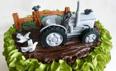 Close up of my vintage tractor cake. Based on a Massey Fergusson.