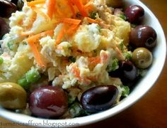 Salad Olivieh  (serves 4-6):  5-6 med. potatoes–cooked/peeled/cubed, 1 lb skinless boneless chicken breasts–cooked/cubed, 1 cup green peas, cooked or thawed frozen, 1 cup finely chopped carrots, 1 cup mayo, 2-3 tblsp olive oil, Juice of 2 lemons, S&P to taste. Mix well in a large bowl the potatoes,chicken,peas,carrots. In small bowl mix mayo,olive oil,lemon juice,S&P and add to the rest of the ingredients. Taste; adjust tseasoning. Creamier? Add more mayo. Serve w/pickles, olives and warm…