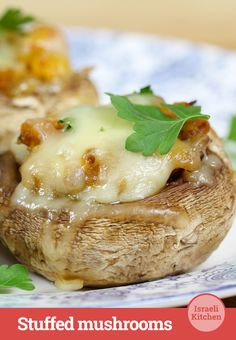 Big, meaty, stuffed Portobello mushrooms make a substantial first course #appetizer #recipe #IsraeliKitchen