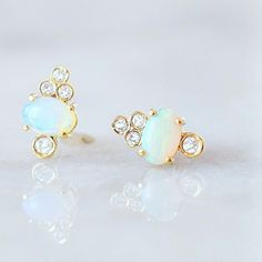 14kt Gold Opal & Diamond Sundae Studs