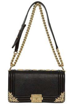 Auth CHANEL Black Smooth Leather Medium BOY Bag w. Brushed Gold Filagre  Detail f1c7476036c37