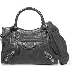 Balenciaga Giant 12 City AJ mini textured-leather shoulder bag ($1,395) ❤ liked on Polyvore featuring bags, handbags, shoulder bags, grey, gray purse, shoulder bag purse, studded purse, studded handbags and grey purse