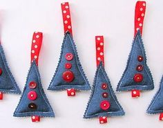 Christmas Trees In Denim | Denim crafts are hot right now. Make these tree-shaped homemade Christmas ornaments.