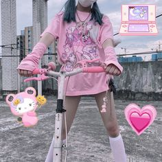 Pastel Goth Outfits, Pastel Goth Fashion, Kawaii Fashion, Pastel Goth Style, Pastel Goth Clothes, Grey Fashion, Vintage Tops, Mode Kawaii, Kawaii Goth
