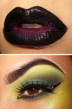 love this idea... slight green around the eyes and upper cheek bones, black lips and purple cheek bones. if I covered my whole face in green I would break out like crazy.