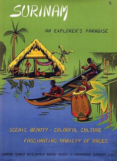 """1955 Suriname'' Scenic Beauty - Colorful Culture Fascinating Variety of Races"""" The lush rain forest with Surinamese tribes canoeing and resting under the thatched roof of a traditional lodge.Pre independence in 1975, Suriname (a Caribbean country on the north-east coast of South America) was referred to as """"Dutch Guinea'', vintage travel poster"""