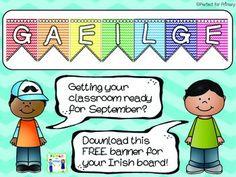 Bright chevron Gaeilge banner to hang over your Irish display board. Irish Language, Display Banners, Free Banner, Classroom Design, Classroom Displays, Chevron, Board, Poster, Classroom Decor