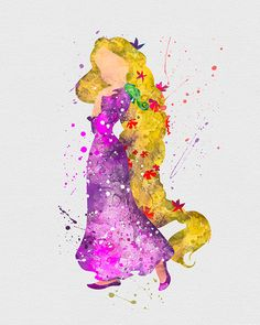 - DESCRIPTION - SPECS - PROCESSING+SHIPPING - Tangled Rapunzel Watercolor Art Print. Our designs make an attractive, modern contemporary wall piece for your baby nursery, home, office or even as a gif