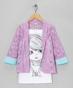 Take a look at this Pansy Blazer & Glitter Girl Tank by Beautees on #zulily today! So cute!!