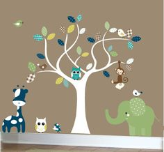 Nursery wall decals  white tree jungle decal set by couturedecals, $129.00
