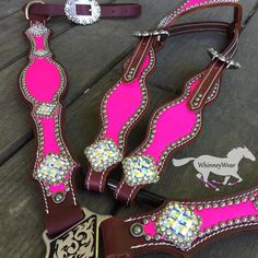 NEON PINK tack set with Swarovski Conchos by WhinneyWear. email whinneywear@yahoo.com to discuss pricing on your own custom set. Breastcollar, headstall, barrel raving
