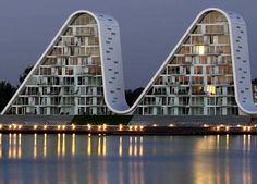 """Another prestigious award for the """"wave"""" of Henning Larsen Architects. Built on the waterfront of the Danish small town of Vejle, the residential complex """"The Wave"""", winner of the Leaf Awards 2010, has been awarded a Civic Trust Award."""