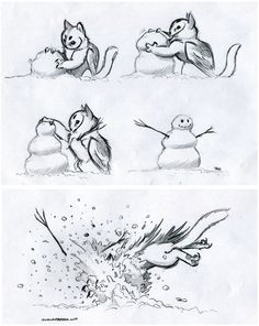 Owl Griffin Snow Play by RobtheDoodler.deviantart.com on @DeviantArt