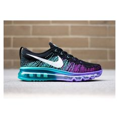 Nike Women's Flyknit Air Max Black White Purple Venom Tribe Green The... ❤ liked on Polyvore featuring shoes, tribal shoes, white and black shoes, green shoes, black white shoes and purple shoes