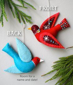 Snow Bird PDF pattern for a hand sewn wool felt ornament