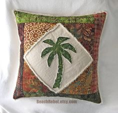 Palm tree boho pillow cover patchwork with olive by BeachRebel