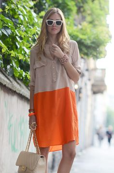 Bright color blocked orange and beige button down dress