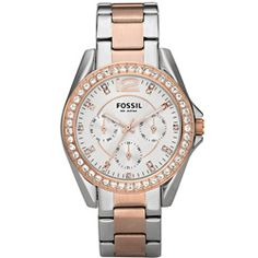 @Overstock - Clear cubic zirconia stones accent the rose-goldtone bezel of this stunning women's watch from Fossil. Three subdials, clear stone markers and a two-tone stainless steel bracelet finish the refined look of this beautiful timepiece.http://www.overstock.com/Jewelry-Watches/Fossil-Womens-Riley-Rose-and-Silvertone-Stainless-Steel-Watch/6081853/product.html?CID=214117 $86.56