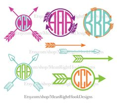 Monogram Arrows design pack INSTANT DOWNLOAD vector files for cutting machines - svg, png, dxf, eps (monograms not included) by MeanRightHookDesigns on Etsy https://www.etsy.com/listing/244052020/monogram-arrows-design-pack-instant