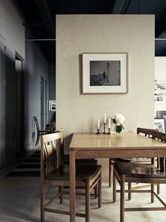 Swedish dining table in photographer Pia Ulin's Brooklyn loft remodeled by Bangia Agostinho Architecture |Remodelista