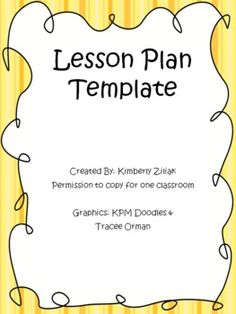 FREE!! Lesson Plan Template