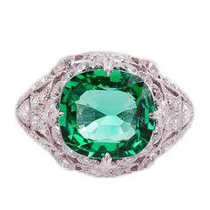 3.50 Carat Emerald Platinum Filigree Diamond Setting