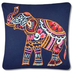 Elise & James Home™  Hasin Elephant Reversible Decorative Pillow ($30) ❤ liked on Polyvore featuring home, home decor, throw pillows, navy, embroidered throw pillows, navy blue home decor, dark blue throw pillows, navy blue toss pillows and navy home decor
