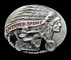 UNTAMED SPIRIT MOTORCYCLE CHAIN RIDER INDIAN CHIEF NATIVE BELT BUCKLE