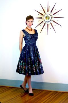 Vtg 1950s Mexican Sundress 50s Rockabilly Black Painted Circle Skirt Dress