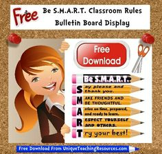 FREE DOWNLOAD:    Download and print this free 3 page Be S.M.A.R.T.   Classroom Rules bulletin board display for your classroom, and many more FREE banners from Unique Teaching Resources! Classroom Rules, School Classroom, School Teacher, Classroom Organization, School Life, Teacher Stuff, Bulletin Board Display, School Bulletin Boards, Class Rules
