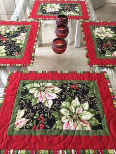 Quilted Christmas Gifts, Quilted Table Runners Christmas, Christmas Placemats, Christmas Runner, Christmas Decorations, Fall Placemats, Quilted Placemat Patterns, Fabric Placemats, Quilt Patterns