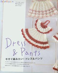 Delicadezas en crochet Gabriela: Tutorial : Vestiditos agarraderas de cocina