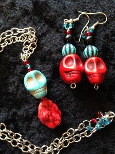 Turquoise-Red Choker Necklace Set by CraftyOlBats on Etsy