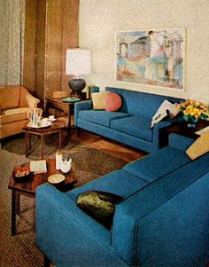 Conforming Furniture can be used interchangeably in living, dining, or bedroom. Featured in October 1961 issue of House Beautiful.