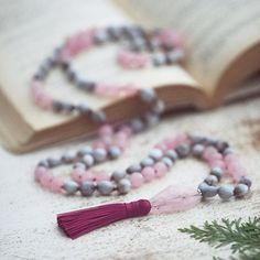 Job's Tears Seeds and Rose Quartz Mala with by TAIPAaccessories