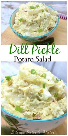Mom's dill pickle potato salad is a great way to use up pickle juice at the bottom of the jar. Don't toss it, use it to make this tasty potato salad recipe. Waste not , want not. This is a family favorite and great for potlucks, BBQ's, or anytime reall Potato Dishes, Potato Recipes, Food Dishes, Side Dishes, Barbacoa, Soup And Salad, Pasta Salad, Spaghetti Salad, Summer Salads