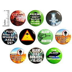 Funny Alien Buttons 10 Pack of Pins for Backpacks Lapel Pins Aliens Button Pin Gift Set 1 Inch Outerspacebacon Work Jokes, Work Humor, Weird Gifts, Funny Gifts, Funny Buttons, Aliens Funny, Funny Stickers, Cheap Gifts, Lapel Pins