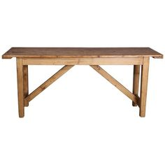 Antique Rustic Pine Worktable or Console with Trestle Base available for sale at Atelier1505.com