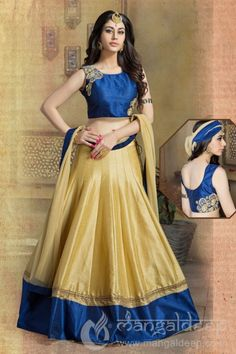 http://www.mangaldeep.co.in/lehengas/opulent-blue-beige-readymade-raw-silk-lehenga-choli-5842 For more details contact us : +919377222211 (whatsapp available)