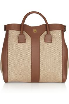 Yves Saint Laurent Double Y woven linen and leather tote