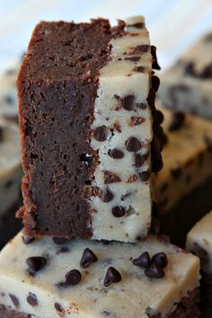 Chocolate Chip Cookie Dough Brownies -  RecipeGirl.com