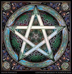 Wiccan Pentagram. Earth, Water Fire, Air, Spirit.