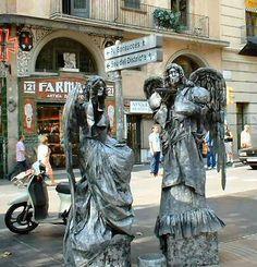 Estatuas móviles, las Rambla, Barcelona, España