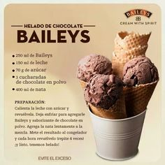 Helado de chocolate Baileys Licor Baileys, Baileys Drinks, Baileys Recipes, Drinks Alcohol Recipes, Wine Recipes, Dessert Recipes, Mexican Recipes, Chocolates, Quick And Easy Sweet Treats