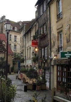 Caen ~ Normandy ~ France ~ Houses & restaurants in the Vaugueux Street.
