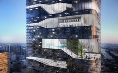 Image 9 of 10 from gallery of Grenelle Tower / Atelier Zündel & Cristea. Courtesy of Atelier Zündel & Cristea Tower In Paris, Future Buildings, High Rise Building, Atrium, Beautiful Buildings, Interior Architecture, Chinese Architecture, Contemporary Architecture, Interior Design